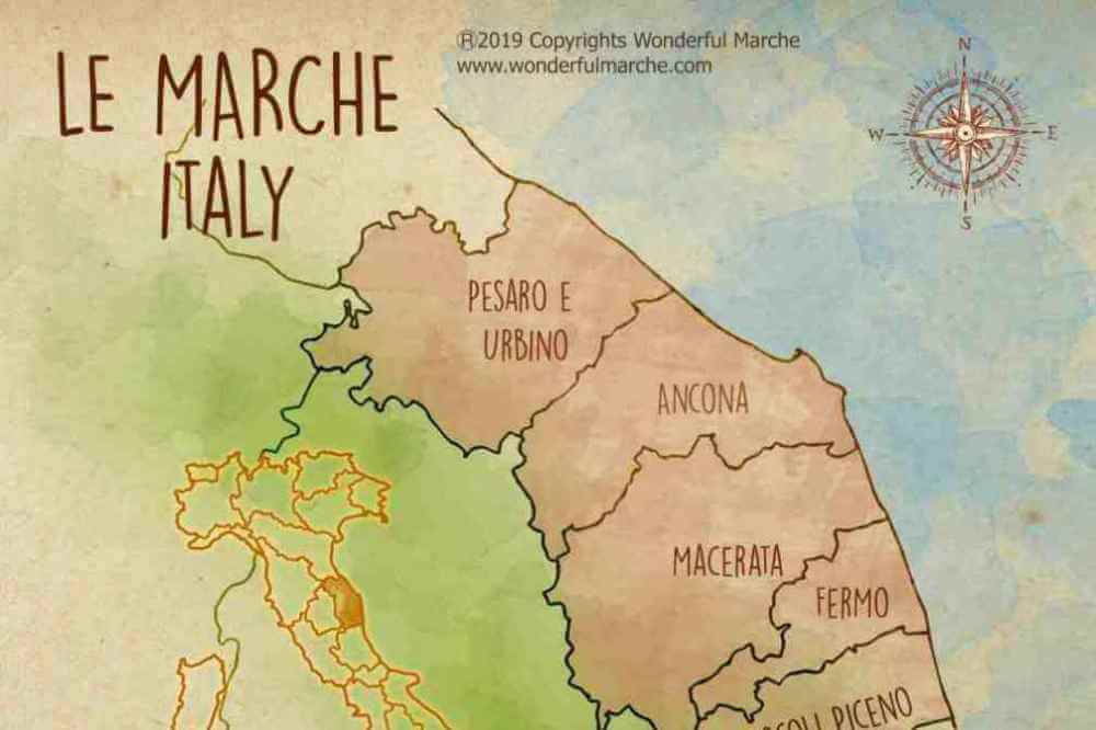 Le marche italy map