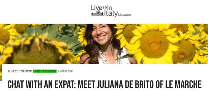 living in italy magazine juliana de brito