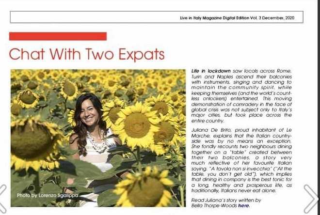 Living in Italy Magazine- Juliana de Brito